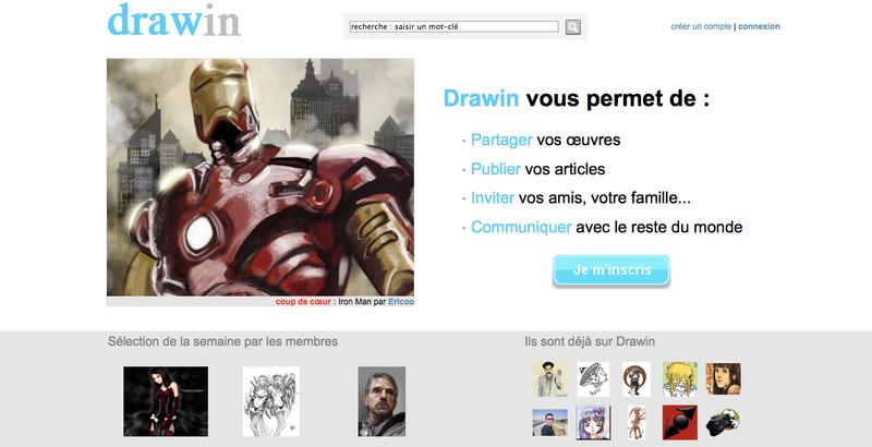 Drawin-homepage